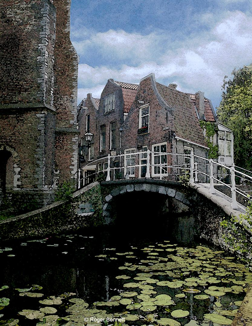 Lillies and Bridge, Delft, The Netherlands
